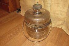 Vintage Glass Reinforced Metal Kerosene Water Container Tank Filling Jar #1274