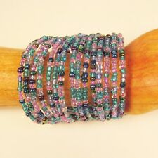 "2 1/4"" Wide Pink/Blue Multi Strand Beaded Bangle Handmade Cuff Bracelet"