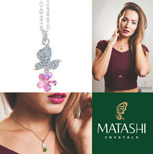 "16"" Rhodium Plated Necklace w/ Butterfly, Flower & Pink Crystals by Matashi"