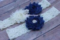 Navy blue garter wedding thigh plus size bridal belt prom gift US seller