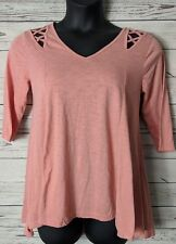 Umgee S Small Heathered Pink Elbow Sleeve Hi Low Hemline Top Oversized