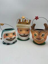 DEPT 56 Set of 3 PAPER MACHE Christmas Basket Buckets SANTA REINDEER KING