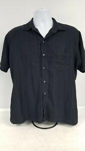 Van Heusen Dress Shirt Men's Short Sleeve Black Size 16-16.5