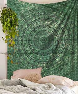 Green Mandala Tapestry Multi Color Wall Hanging Queen Size Bedspread Bohemian