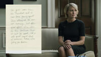 House of Cards Production Used Prop Ep 404 Claire's Note From Scene 11 (D)
