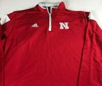 Nebraska Huskers Jacket Mens XL Adidas ClimaLite 1/4 Zip Long Sleeve Pullover