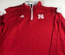 Nebraska Huskers Jacket Mens XL Adidas ClimaLite 1/4 Zip Long Sleeve Pullover
