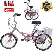Foldable Adult Tricycle 20'' Folding Tricycle 7-Speed 3 Wheel Bikes For Adults