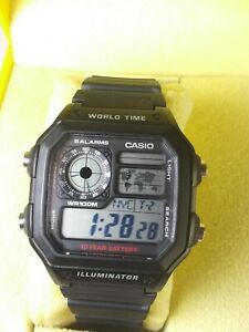Casio World Time, 10 Year Battery Illuminator. 5 Alarms, black rubber band.