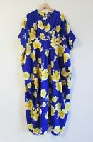 Hilo Hattie OSFM Vintage Aloha Muumuu Blue Yellow Hibiscus Hawaiian Kaftan Dress