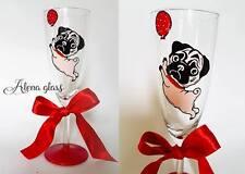 Personalised Flute Champagne dipinto a mano Pug Dog compleanno regalo di compleanno 30th 35