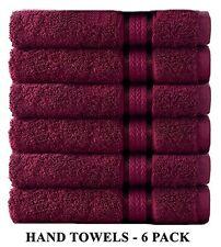 Cotton Craft Ultra Soft 6 Pack Hand Towels 16x28 Burgundy weighs 6 Ounces each -