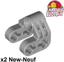 Lego technic 2x pin connector perpendicular split gris/light b. gray 92907 NEUF
