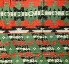 VTG 30s Beacon Style Pictorial Wolf Camp Native American Indian Syle Blanket ~