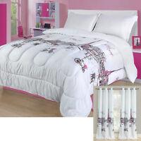 Twin, Full/Queen, or King Paris Comforter Bedding Set Pink Grey Eiffel Tower