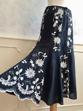 NEW - PER UNA Black Cotton Floral Embroidered Boho Maxi Summer Skirt Small 8