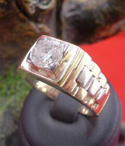 Prächtiger Solitär Brillant Herren Ring in 750 Gelbgold und Weißgold ca. 1,5 ct.