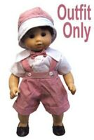 """New """"Red Striped Jumper w Hat"""" fits 15"""" American Girl Bitty Baby - Outfit Only"""