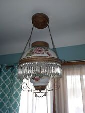 GEORGEOUS ANTIQUE HANGING PARLOR LAMP FULL OF PRISMS OIL BURNING LIBRARY