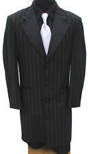 Black Pinstriped Zoot Suit Tuxedo With Pants Pimp Gangster Halloween Costume 41L