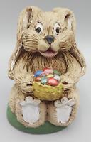 Vintage Signed HCF Easter Rabbit Bunny w/ Eggs Basket Hand Painted Figurine