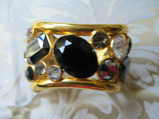 nwot/Jose Maria Barrera, 18k gold plated wrist cuff, faceted black oynx,/crystal