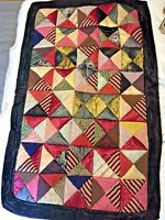 Early Small Silk Crazy Quilt Stuffed Triangles Vintage Textile Patterns
