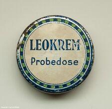SEHR kleine Blechdose LEOKREM Probedose vermutlich 30er bis 50er Jahre !?
