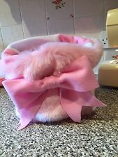 CHIHUAHUA DOG PET BED CREAM PINK FAUX FUR PUPPY POCKET SNUGGLE SACK