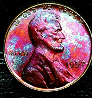 "1957 Lincoln Wheat Penny Cent- ""Beautifully Toned"" SUPERB MS++ GEM++ BU++ 04"