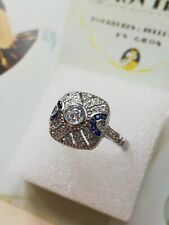 107 925 Sterling Silver Art Deco Vintage Blue 1.5 white Sapphire Cocktail Ring L