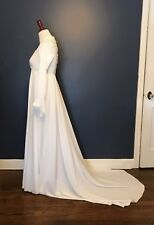 Vintage 1970's Lace & Pearl Trimmed Wedding Dress Gown w/Train & Bell Sleeves Xs