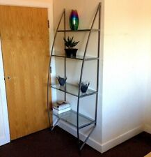 ✿ ALBANY 4-TIER SILVER/TEMPERED GLASS LADDER BOOKCASE SHELVES UNIT (NEW IN BOX)✿