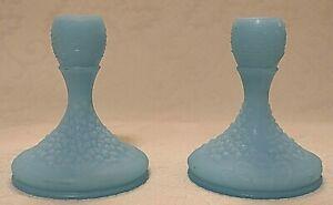 Fenton Glass Blue Satin Flowered Short Candle Sticks Pair Set of 2 Vintage