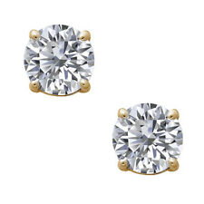 1ctw Brilliant Round Solitaire Stud Earrings 14k Real Yellow Gold in Screw Back
