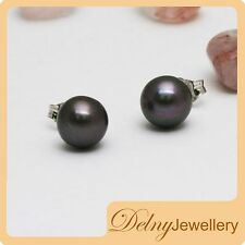Brand New 925 Sterling Silver Black Freshwater Pearl Earring Studs 10-11mm Delny