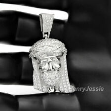 MEN 925 STERLING SILVER LAB DIAMOND ICED OUT BLING JESUS FACE CHARM PENDANT*SP7