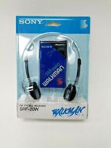 New Sony Walkman SRF-20W Blue FM Stereo Radio 1980s Free Shipping