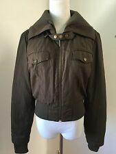 VINCE Women's Brown Bomber Jacket Coat Quilted Lined Sz L