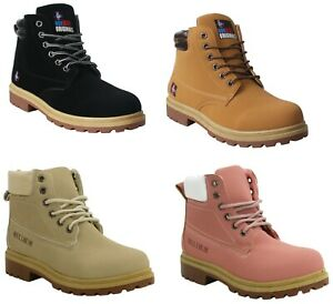 MENS WOMENS CASUAL LACE UP HIKING WALKING WORK ANKLE COMBAT HI TOP BOOTS SHOE UK