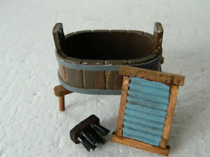 (A28) 1/12th scale DOLLS HOUSE OVAL WASH TUB ON STAND, BOARD AND BRUSH