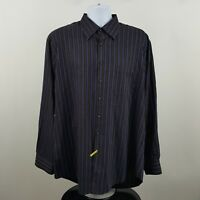 Scott Barber Dark Brown Blue Striped Men's L/S Casual Button Shirt Sz XL