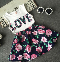 2pcs Toddler Kids Baby Girls Outfit T Shirt Tops+Floral Skirt Dress Clothes Set