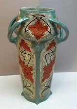 """Fine 18"""" Art Nouveau Pottery Vase  WILHELM SCHILLER & SOHN  c. 1900  antique"""