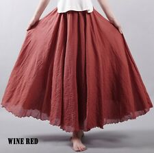 Women Linen Pleated Maxi Long Beach Boho Skirt Dress Vintage Casual Cotton Lady