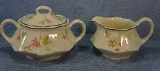 Homer Laughlin Pink Leaf Gold Trim- Creamer and Sugar Bowl with Lid