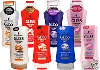 Schwarzkopf Gliss Shampoo Conditioner Deep Hair Repair Shine Liquid Keratin UK