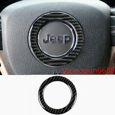 Real Carbon Fiber Steering Wheel Logo Cover Trim For Jeep Grand Cherokee 2014-19