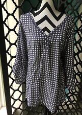NWT Womens 2X Plus LEE Blue-Gray Buffalo Plaid 3/4 Tab Sleeve Top Blouse Shirt
