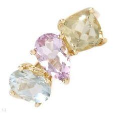 Amethyst Yellow Three-Stone Fine Rings
